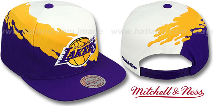 Lakers 'PAINTBRUSH SNAPBACK' White-Gold-Purple Hat by Mitchell and Ness : pictured without stickers that these products are shipped with