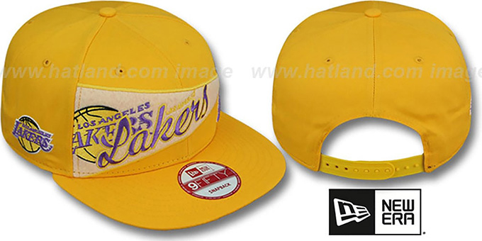 Lakers 'PENNANT SNAPBACK' Gold Hat by New Era : pictured without stickers that these products are shipped with