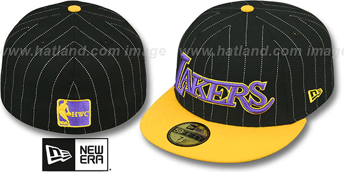 Lakers 'PIN-SCRIPT' Black-Gold Fitted Hat by New Era : pictured without stickers that these products are shipped with