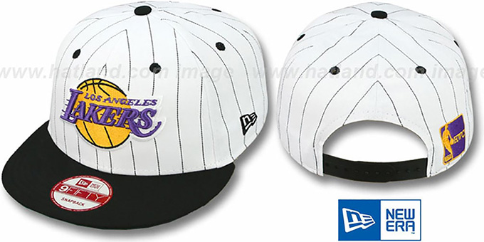 Lakers 'PINSTRIPE BITD SNAPBACK' White-Black Hat by New Era : pictured without stickers that these products are shipped with