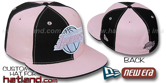 Lakers 'PINWHEEL' Black-Pink Fitted Hat by New Era : pictured without stickers that these products are shipped with