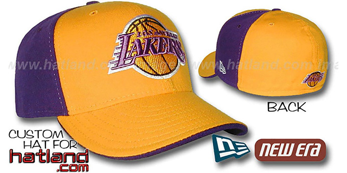 Lakers 'PINWHEEL' Gold-Purple Fitted Hat by New Era : pictured without stickers that these products are shipped with