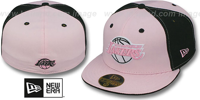 Lakers 'PINWHEEL' Light Pink-Black Fitted Hat by New Era : pictured without stickers that these products are shipped with