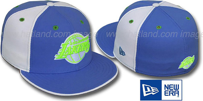 Lakers 'PINWHEEL' Lime-Sky-White Fitted Hat by New Era : pictured without stickers that these products are shipped with