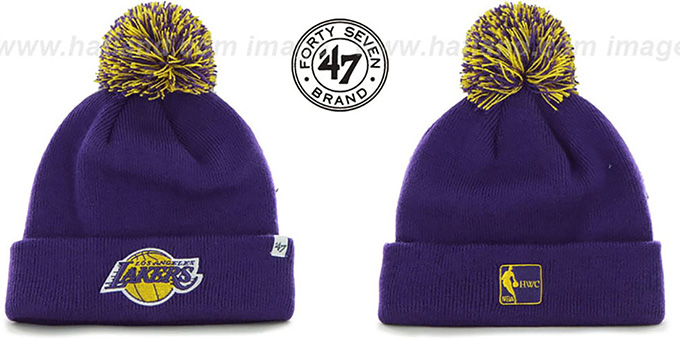 Lakers 'POMPOM CUFF' Purple Knit Beanie Hat by Twins 47 Brand : pictured without stickers that these products are shipped with