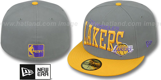 Lakers 'PRO-ARCH' Grey-Gold Fitted Hat by New Era : pictured without stickers that these products are shipped with