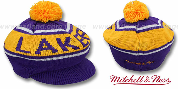 Lakers 'RERUN KNIT BEANIE' by Mitchell and Ness : pictured without stickers that these products are shipped with