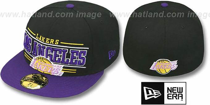Lakers 'RETRO-SMOOTH' Black-Purple Fitted Hat by New Era : pictured without stickers that these products are shipped with