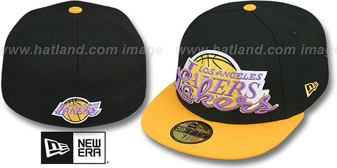 Lakers 'SCRIPT-PUNCH' Black-Gold Fitted Hat by New Era : pictured without stickers that these products are shipped with