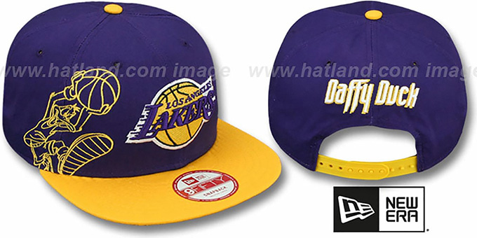 Lakers 'SIDE-TEAM' DAFFY DUCK SNAPBACK Hat by New Era : pictured without stickers that these products are shipped with