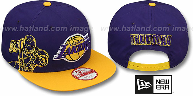 Lakers 'SIDE-TEAM' IRON MAN SNAPBACK Hat by New Era : pictured without stickers that these products are shipped with