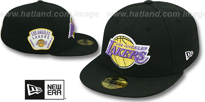 Lakers 'SIDE TEAM-PATCH' Black Fitted Hat by New Era : pictured without stickers that these products are shipped with