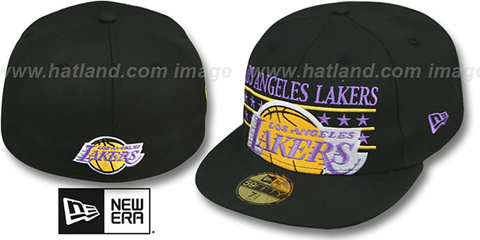 Lakers 'STAR STUDDED' Black Fitted Hat by New Era : pictured without stickers that these products are shipped with