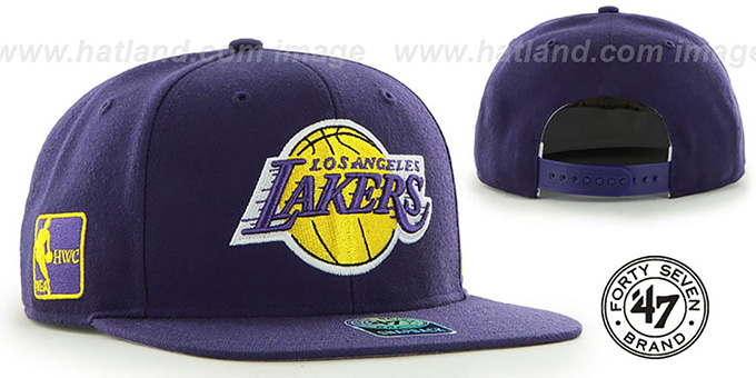 Lakers 'SURE-SHOT SNAPBACK' Purple Hat by Twins 47 Brand : pictured without stickers that these products are shipped with