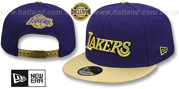 Lakers 'SWINGMAN SNAPBACK' Purple-Gold Hat by New Era : pictured without stickers that these products are shipped with