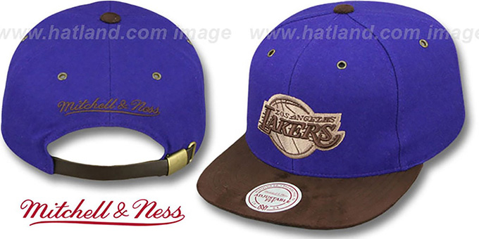 Lakers 'TC-BROWN SUEDE STRAPBACK' Hat Mitchell & Ness : pictured without stickers that these products are shipped with