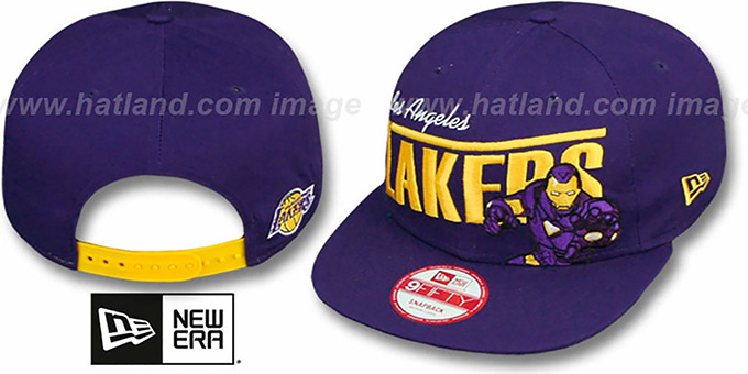 Lakers 'TEAM-HERO SNAPBACK' Purple Hat by New Era : pictured without stickers that these products are shipped with