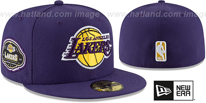 Lakers 'TEAM-SUPERB' Purple Fitted Hat by New Era : pictured without stickers that these products are shipped with