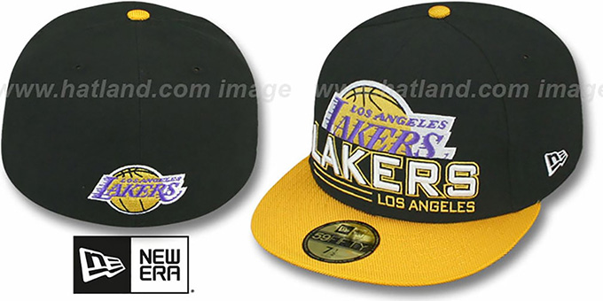 Lakers 'TECH MARK' Black-Gold Fitted Hat by New Era : pictured without stickers that these products are shipped with