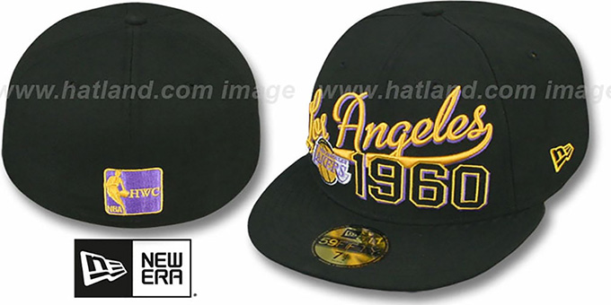 Lakers 'THE BEGINNING' Black Fitted Hat by New Era : pictured without stickers that these products are shipped with