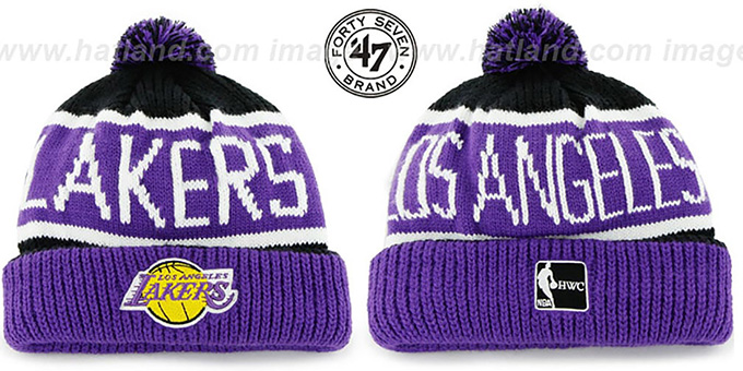 Lakers 'THE-CALGARY' Purple-Black Knit Beanie Hat by Twins 47 Brand : pictured without stickers that these products are shipped with