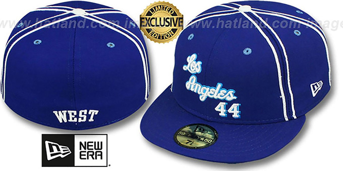 Lakers WEST 'TEAM-UP' Royal Fitted Hat by New Era : pictured without stickers that these products are shipped with