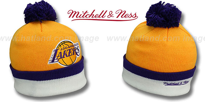 Lakers 'XL-LOGO BEANIE' Gold by Mitchell and Ness : pictured without stickers that these products are shipped with