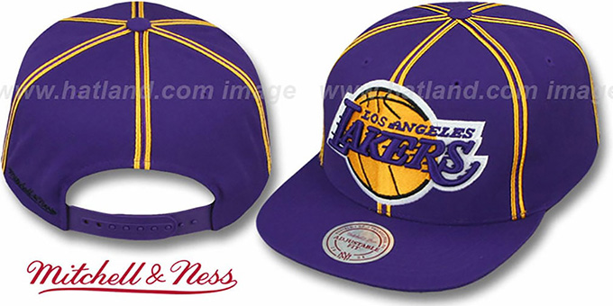 Lakers 'XL-LOGO SOUTACHE SNAPBACK' Purple Adjustable Hat by Mitchell & Ness : pictured without stickers that these products are shipped with