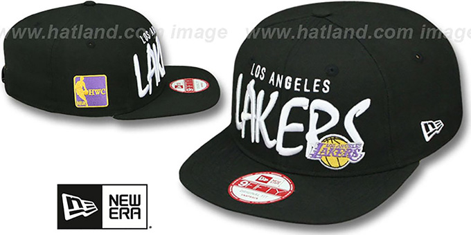 Lakers 'XL-MATISSE SOCAL SNAPBACK' Black Hat by New Era : pictured without stickers that these products are shipped with