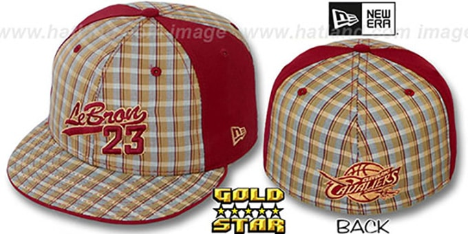 Lebron James 'SUPA STAR PLAID' Fitted Hat by New Era : pictured without stickers that these products are shipped with