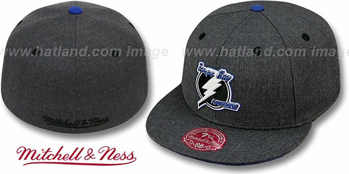 Lightning 'GREY HEDGEHOG' Fitted Hat by Mitchell & Ness : pictured without stickers that these products are shipped with