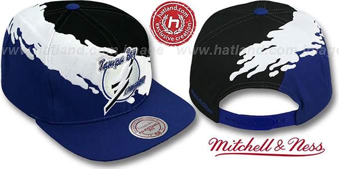 Lightning 'PAINTBRUSH SNAPBACK' Black-White-Royal Hat by Mitchell & Ness : pictured without stickers that these products are shipped with
