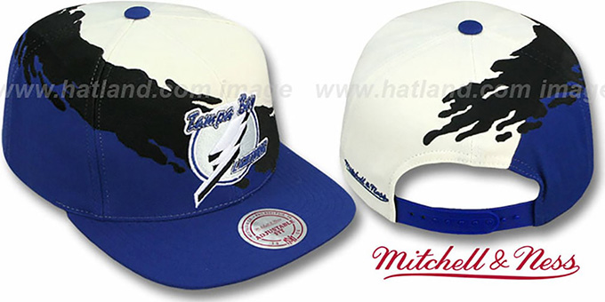 Lightning 'PAINTBRUSH SNAPBACK' White-Black-Royal Hat by Mitchell & Ness : pictured without stickers that these products are shipped with