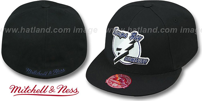 Lightning 'XL-LOGO BASIC' Black Fitted Hat by Mitchell and Ness
