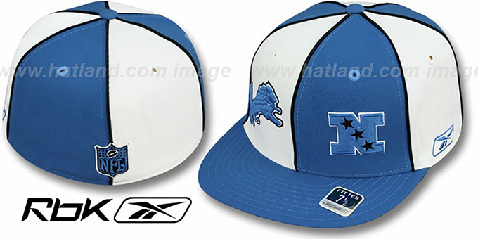 Lions  'NFC DOUBLE LOGO' White-Blue Fitted Hat by Reebok : pictured without stickers that these products are shipped with
