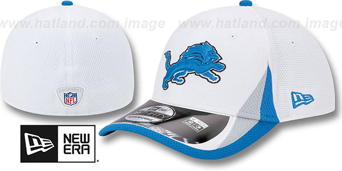 Lions '2013 NFL TRAINING FLEX' White Hat by New Era : pictured without stickers that these products are shipped with