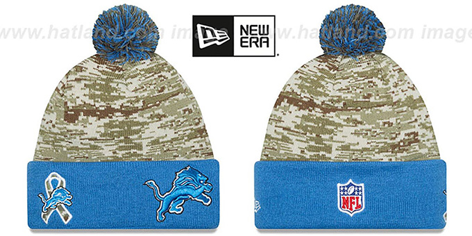 Lions '2015 SALUTE-TO-SERVICE' Knit Beanie Hat by New Era : pictured without stickers that these products are shipped with