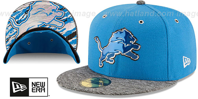 Lions '2016 NFL DRAFT' Fitted Hat by New Era : pictured without stickers that these products are shipped with