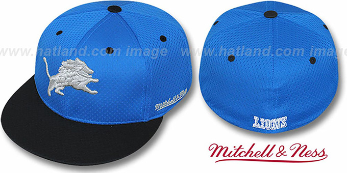 Lions '2T BP-MESH' Blue-Black Fitted Hat by Mitchell & Ness : pictured without stickers that these products are shipped with