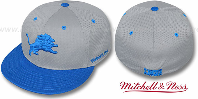 Lions '2T BP-MESH' Grey-Blue Fitted Hat by Mitchell & Ness : pictured without stickers that these products are shipped with