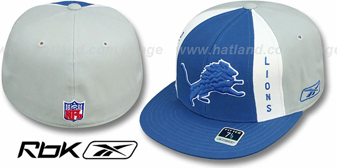 Lions 'AJD PINWHEEL' Blue-Grey Fitted Hat by Reebok : pictured without stickers that these products are shipped with