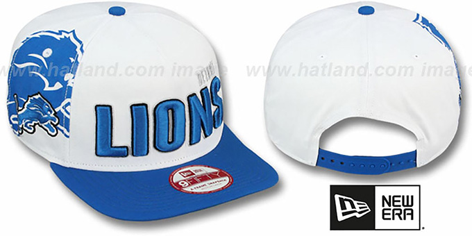 Lions 'BIGSIDE A-FRAME SNAPBACK' White-Blue Hat by New Era : pictured without stickers that these products are shipped with