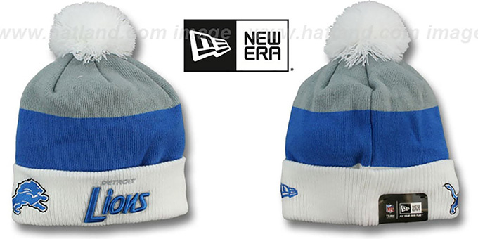 Lions 'CUFF-SCRIPTER' White-Blue-Grey Knit Beanie Hat by New Era : pictured without stickers that these products are shipped with