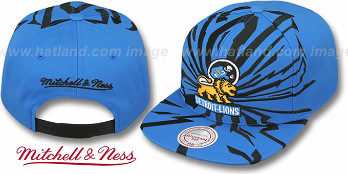 Lions 'EARTHQUAKE SNAPBACK' Blue Hat by Mitchell & Ness : pictured without stickers that these products are shipped with