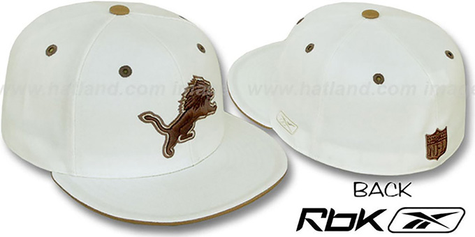 Lions 'KOLORS' Bone Fitted Hat by Reebok : pictured without stickers that these products are shipped with