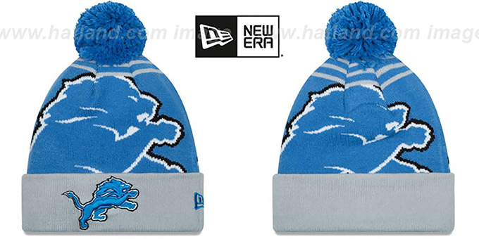 Lions 'LOGO WHIZ' Blue-Grey Knit Beanie Hat by New Era : pictured without stickers that these products are shipped with