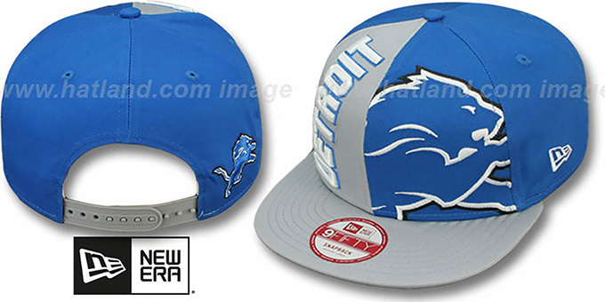 Lions 'NE-NC DOUBLE COVERAGE SNAPBACK' Hat by New Era : pictured without stickers that these products are shipped with