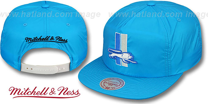 Lions 'NEON SNAPBACK' Blue Hat by Mitchell & Ness : pictured without stickers that these products are shipped with
