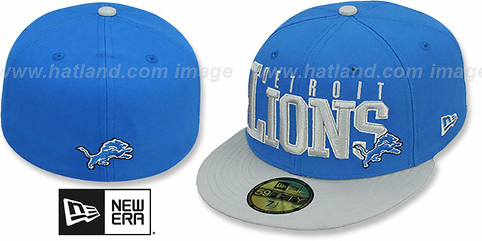 Lions 'NFL 2T CHOP-BLOCK' Blue-Grey Fitted Hat by New Era : pictured without stickers that these products are shipped with