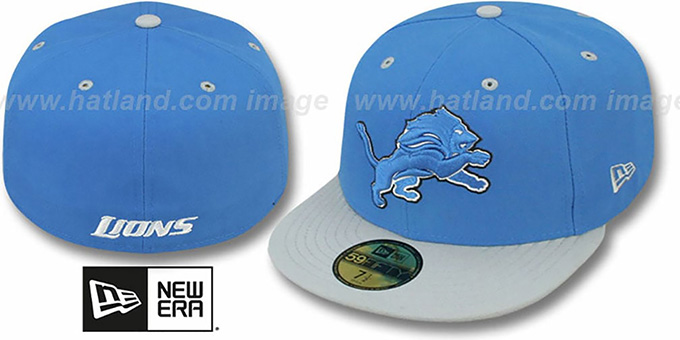 Lions 'NFL 2T-TEAM-BASIC' Blue-Grey Fitted Hat by New Era : pictured without stickers that these products are shipped with